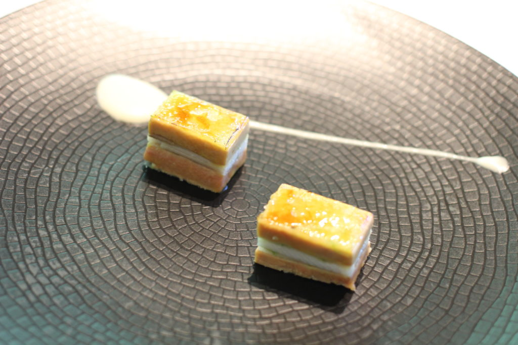 1995 Caramelized millefeuilles of smoked eel, foie gras, spring onion and green apple