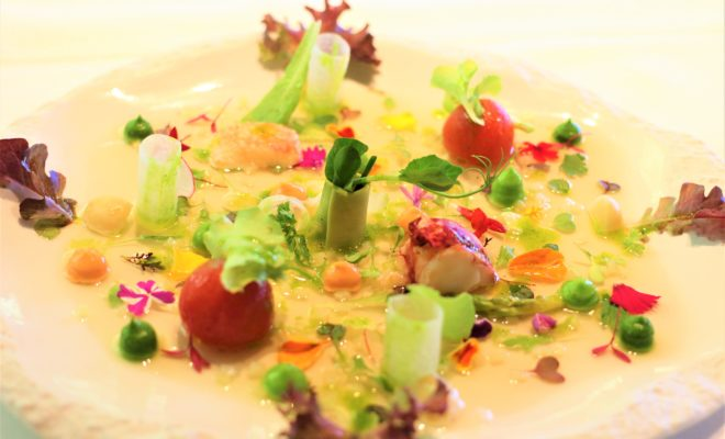 2001 Vegetable marrow salad with seafood, cream of farmhouse lettuce and iodized juice